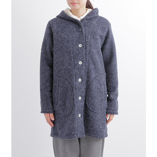[NORTHERN TRUCK]  cozy hooded coat / navy