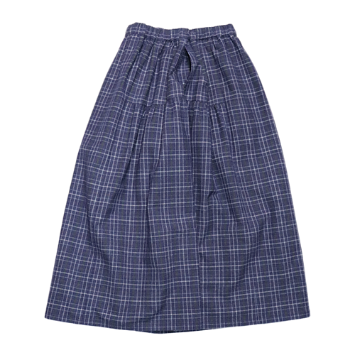 [CLOUD NINE]  flannel check flared skirt  / navy