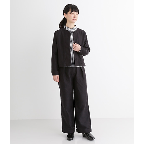 [LILASIC] high-waist dressy set up wide pants / navy