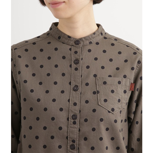 [NORTHERN TRUCK]  band collar cotton dot blouse / beige