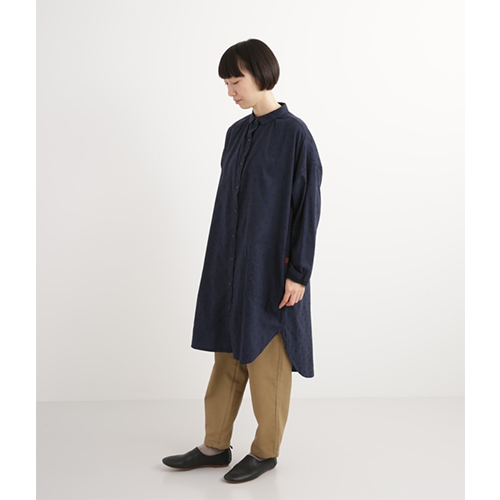 [NORTHERN TRUCK]  over-fit long shirts dot ops / navy