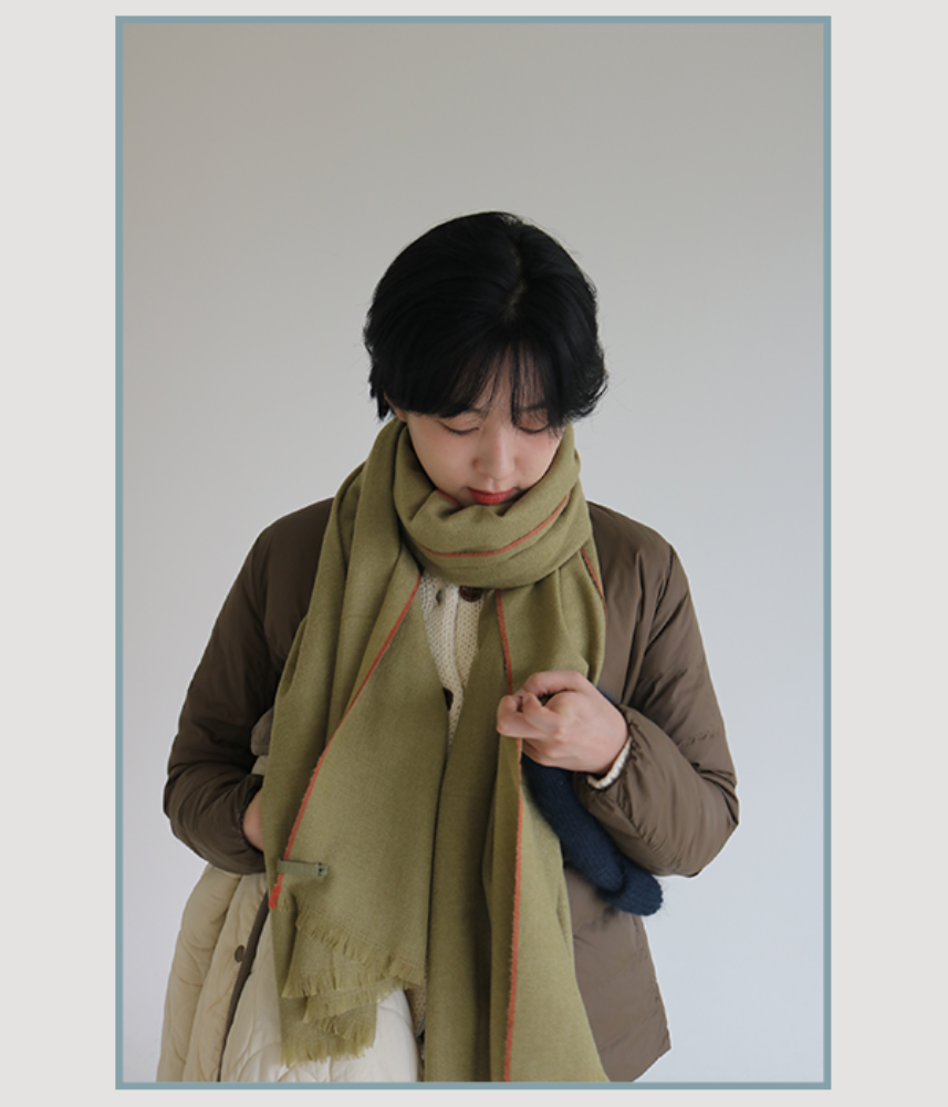 [WINTER THINGS] muji taped muffler / green