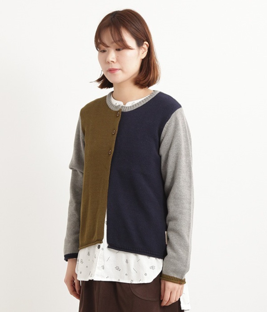 [NORTHERN TRUCK]  color point layered cardigan / khaki