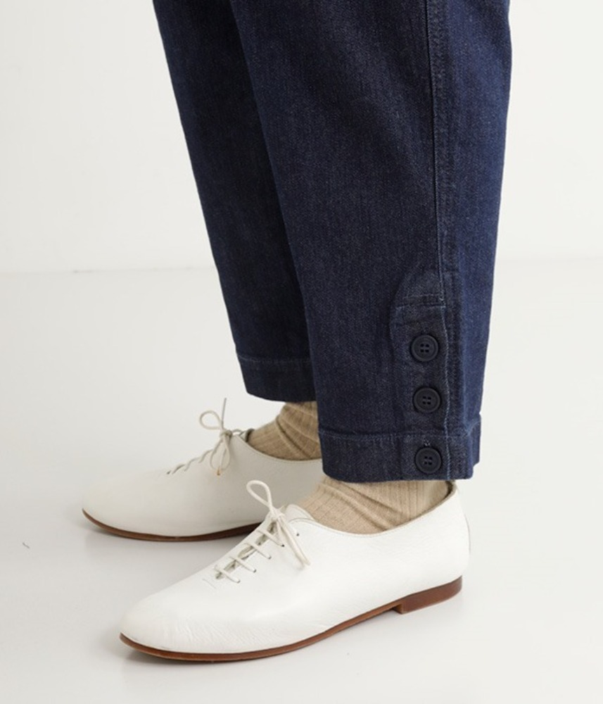 [NORTHERN TRUCK]  ankle button straight denim pants / navy