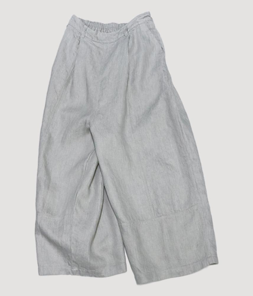 [cloud nine pure]  bio washing twill linen set up crop pants / light grey