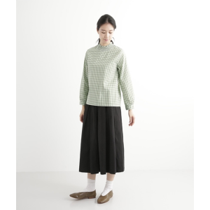 [north object de petit…]  gingham check shirring neck pullover blouse / green