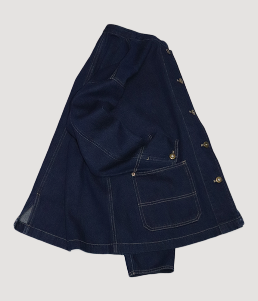 [CLOUD NINE]  stand collar denim coverall jacket / navy