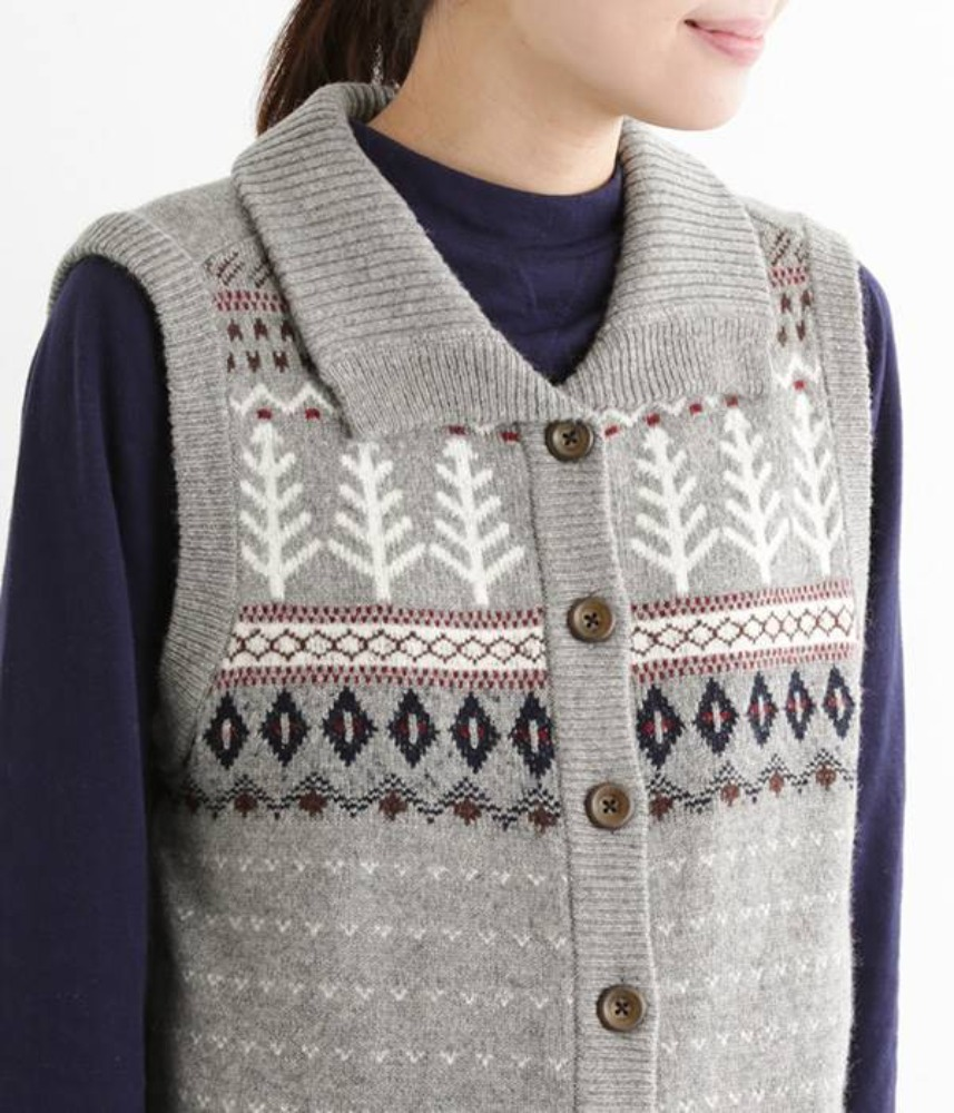 [NORTHERN TRUCK]  Nordic jacquard wool knit vest / grey