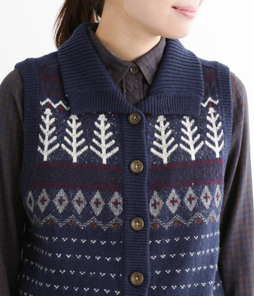 [NORTHERN TRUCK]  Nordic jacquard wool knit vest / navy