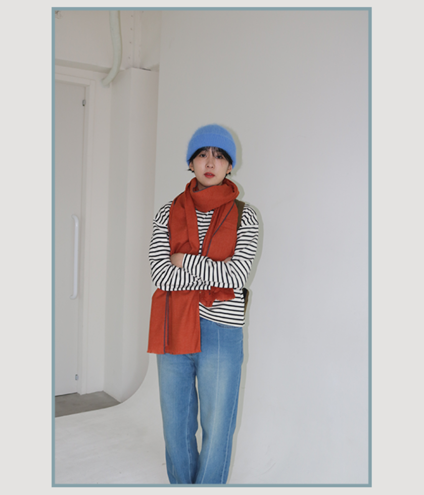 [WINTER THINGS] muji taped muffler / orange