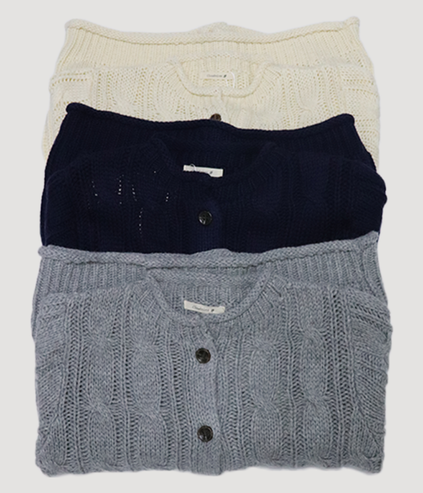 [CLOUD NINE]  rolled neck comfy wool knit cardigan / 3 colors