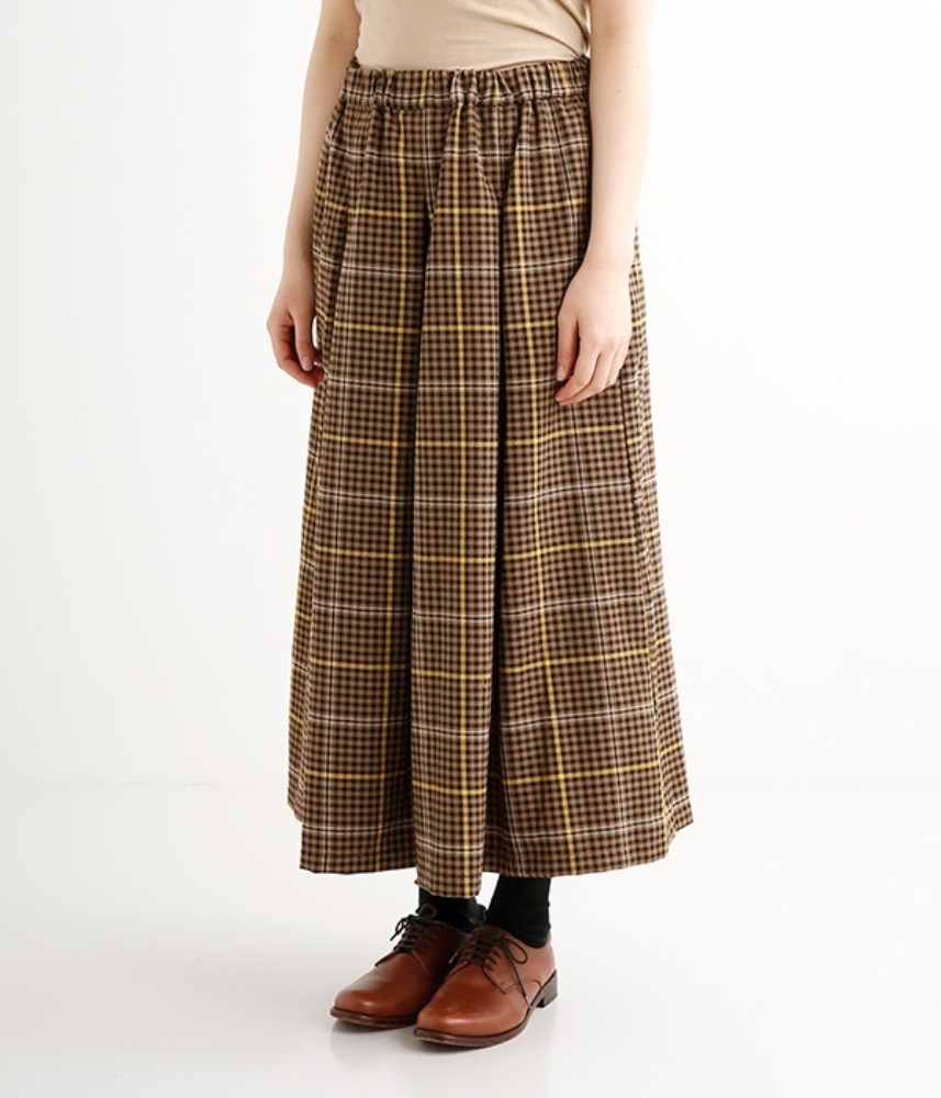 [LILASIC] 2021 check tuck pleats long skirt / camel check