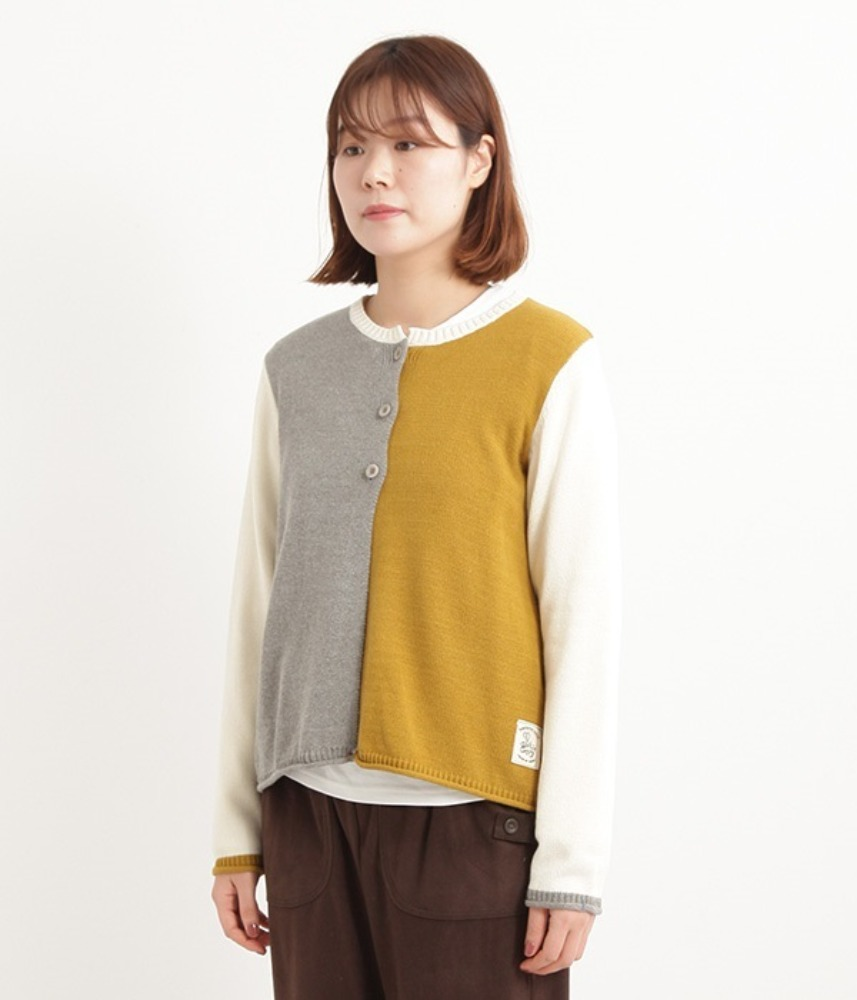 [NORTHERN TRUCK]  color point layered cardigan / yellow
