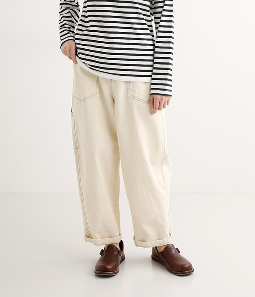 [NORTHERN TRUCK]  work stitch wide straight painter pants / ivory