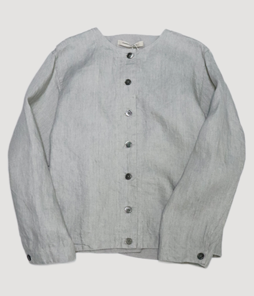 [cloud nine pure]  bio washing twill linen set up crew-neck jacket / light grey